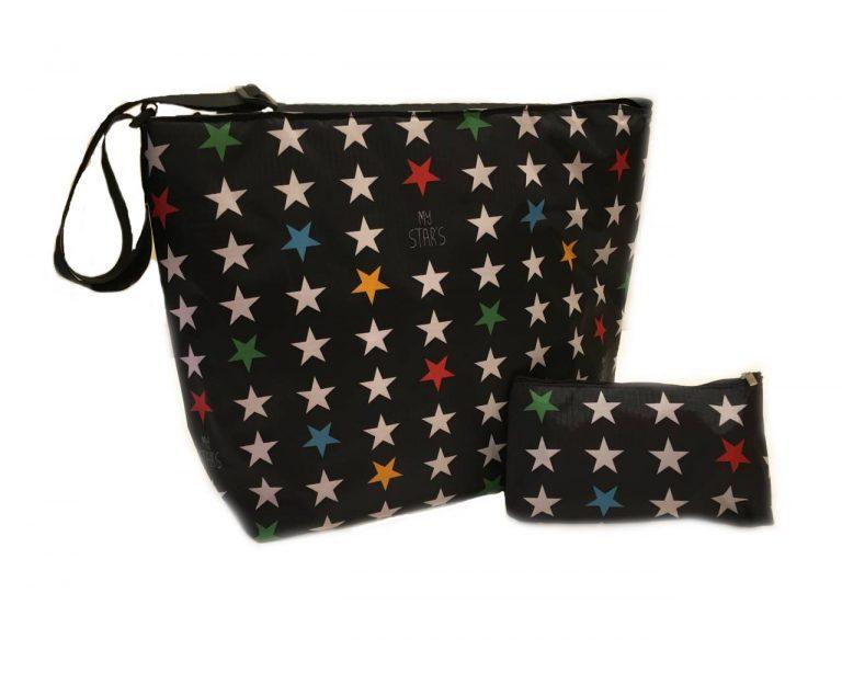 Bolsa carrito estrellas negro XL/gemelar