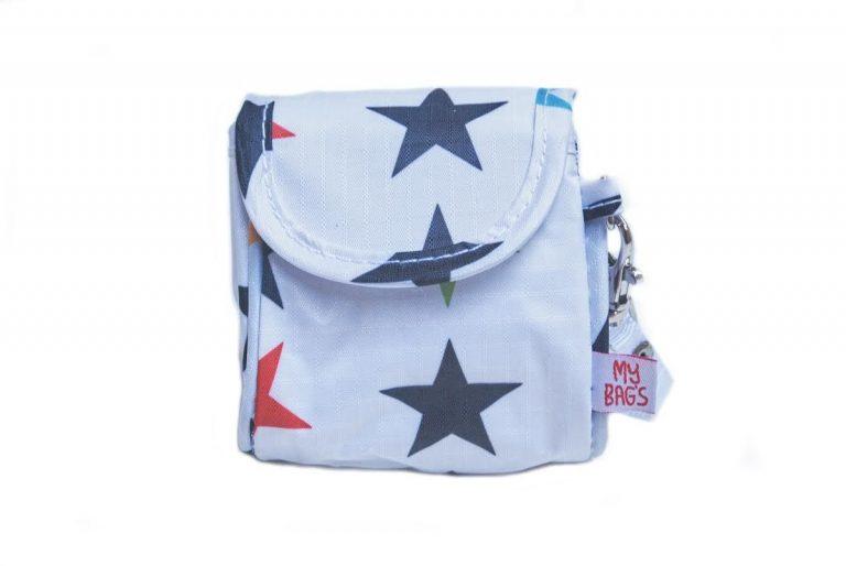 Bolsa portachupetes estrellas blancas