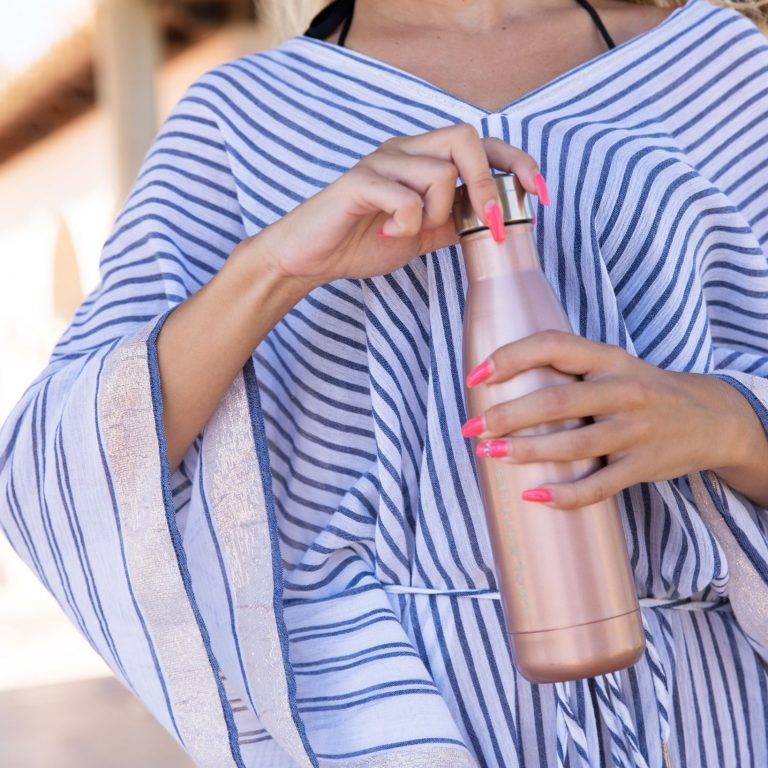 Botella térmica metálica rosa