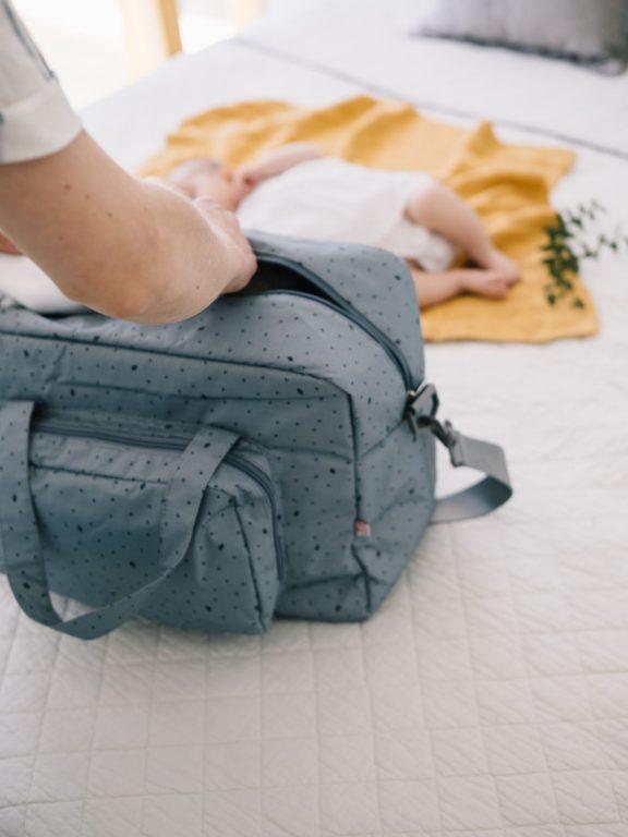 Bolsa Maternidad Leaf gris-azul